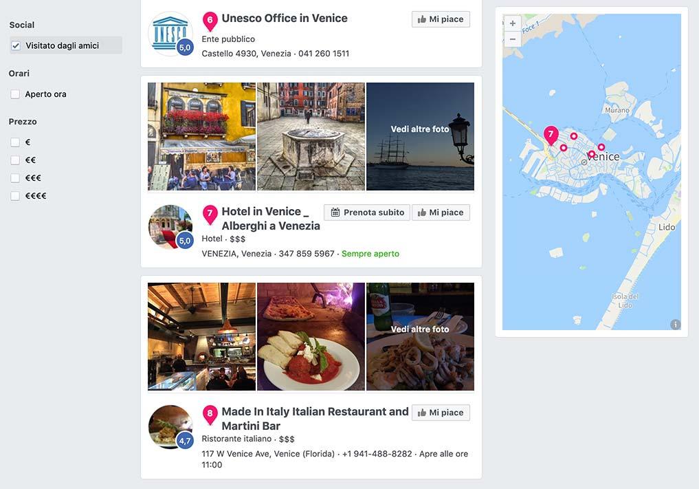 Facebook marketing per hotel a Venezia